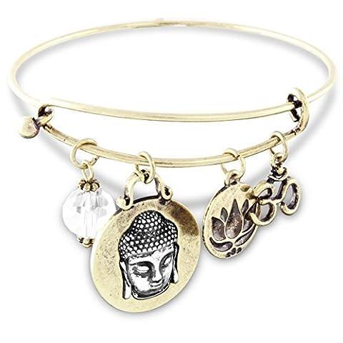 spirituelle OM extensible Fil Bracelet à breloques antique Doré avec cristal