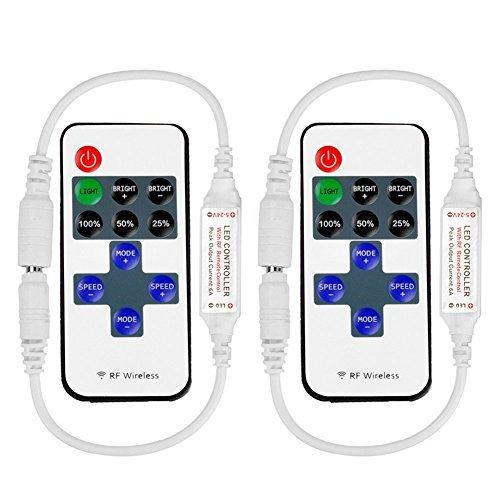 VIPMOON 2 Pack RF Mini Monochromatic Controller mit DC 11-Tasten Wireless Fernbedienung für Dimmable 3528 5050 LED Strip