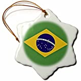 3dRose orn_37603_1 Brazilian Flag Order and Progress in Brazil Snowflake Decorative Hanging Ornament, Porcelain, 3-Inch