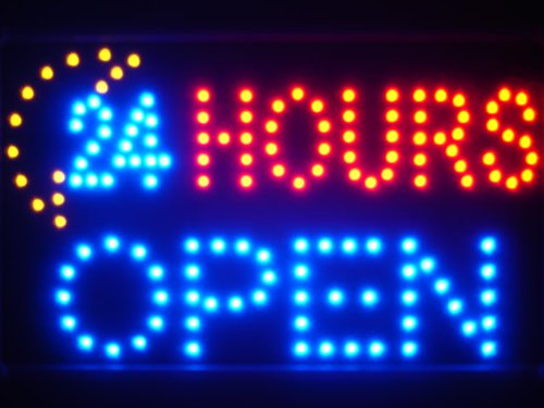 ADV PRO led051-b 24 Hours OPEN Moon Shop LED Neon Sign Barlicht Neonlicht Lichtwerbung