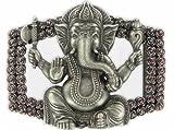 Gürtelschließe Gürtelschnalle - Ganesha - versilbert und lackiert - für 3,8 bis 4 cm breite Bänder
