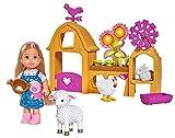 Evi Spielset Bauernhof - Puppe 12 cm, im süßen Ferkel-Kleid, Stallhäuschen mit Windrad und Wetterhahn, Schaf, Hase und Huhn, Gemüsebeet mit Pflanzen, Eierkorb und Futtertrog - passt super zu Steffi, Barbie Chelsea, Shelly,.....