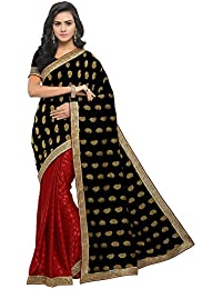 EthnicJunction Women's Jacquard Half And Half Paisley And Polka Dot Zari Lace Work Saree With Blouse (Black And Red_EJ1183-9001)