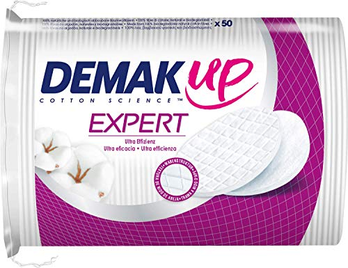 Demak\'Up Expert Wattepads, Abschminkpads oval für effektives Make-Up Entfernen, 1 x 50 Cotton Pads