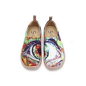UIN Damen Schuhe Slip On, Modell Die Augen, Art Gedrukt Komfort Mehrfarbig