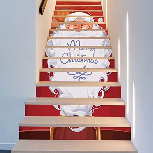 Wallpaper FANGQIAO SHOP Treppen Aufkleber Weihnachten Kleider Weiße Haare Bärte Alte Treppen Dekorative Wandaufkleber Aufkleber Wandmalereien Kunst Dekor Wandtuch