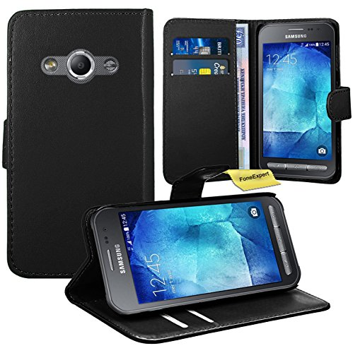 Samsung Galaxy Xcover 3 Housse Coque - FoneExpert® Etui Housse Coque en Cuir Portefeuille Wallet Case Cover pour Samsung Galaxy Xcover 3 (Noir)