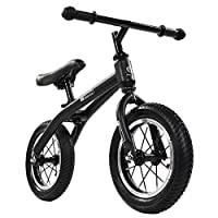 """FJ-MC Unisex Balance Bike, with 12"""" Inflatable Tyres, No Pedal Walking Training Bicycle, for 2-6 Years Kids and Toddlers,Black"""