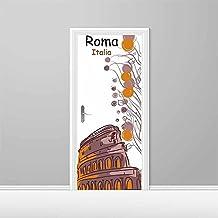 Vinilo decorativo Puerta 3D Italia Roma Coliseo pintura   Varias Medidas 92,5x210cm   Adhesivo Resistente y de Facil Aplicación   Multicolor   Pegatina Adhesiva Decorativa de Diseño Elegante 