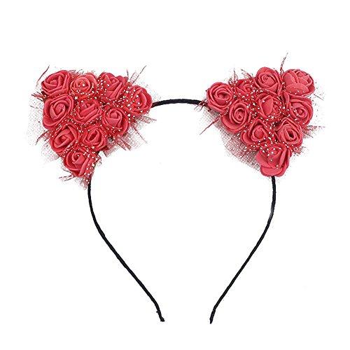 Dosige Haarreif Schwarz Schaum Katzenohren Ohren Kostüm Haar Stirnband für Party und Tägliche Tragen 0.5cm Breit Rot