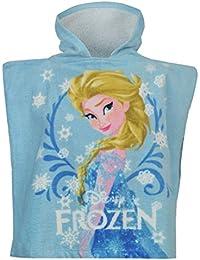 Disney Frozen Elsa Poncho con capucha toalla infantil azul playa piscina albornoz, Azul