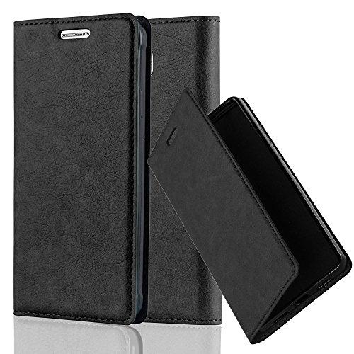 Cadorabo Hülle für Samsung Galaxy Alpha - Hülle in Nacht SCHWARZ - Handyhülle mit Magnetverschluss, Standfunktion & Kartenfach - Case Cover Schutzhülle Etui Tasche Book Klapp Style