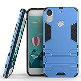 Tasche für HTC Desire 10 Pro Hülle, Ycloud das stärkste Telefon Shock Proof Armor Dual Schutzabdeckung Hochfeste PC Kunststoffoberschale Shockproof mit Halterung Schutzabdeckung Blau