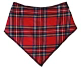 "Spoilt Rotten Pets (S4) Branded Red Tartan Dog Bandana Adjustable Neck to Fit Large to Extra/Large Dogs - Neck Size 23"" - 28"" Generally Fits Chow Chow, German Shepherd, St Bernard, Dogue de Bordeaux and Similar Sized Dogs."