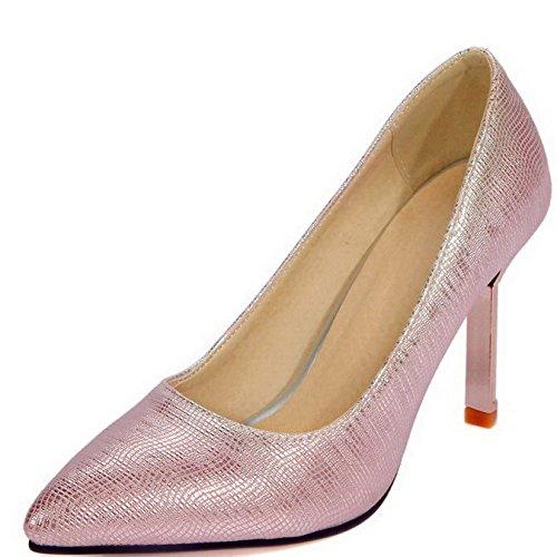 AllhqFashion Femme Matière Souple Tire Pointu à Talon Haut Couleur Unie Chaussures Légeres Rose