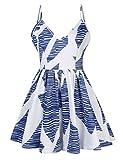 KOJOOIN Damen Plus Size Anzug V-Ausschnitt Jumpsuits, Sommer Mode Siamesische Hose mit Muster Blaues Streifen 2XL