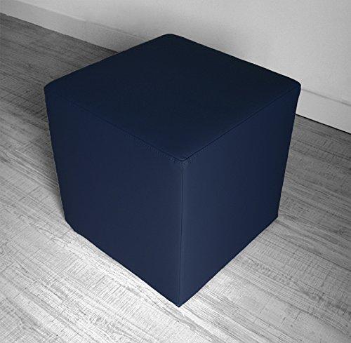 Arketicom Sitzwurfel Pouf Dado, Kunstleder Cube (Abnehmbare) Und Polyurethan Blau 42x42 Cm