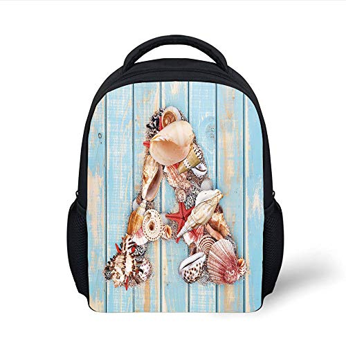 Kids School Backpack Letter A,Letter A with Seashells on Pale Wooden Board Invertebrates Animal Decorative,Pale Blue Ivory Dark Coral Plain Bookbag Travel Daypack -