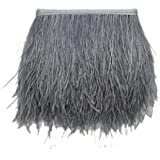Imported Ostrich Feather Dyed Fringe 1 Yard Trim Grey