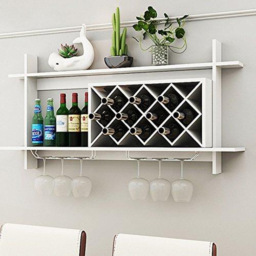 Mensole da parete- mensola per il vino in legno massello con portabottiglie in metallo massiccio per bancone bar (colore : bianca, dimensioni : 120x20x58.5cm)