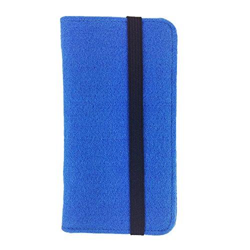 handy-point Universell Organizer für Smartphone Tasche aus Filz Filztasche Filzhülle Hülle Schutzhülle mit Kartenfach für Samsung, iPhone, Huawei (Bis 5,2 Zoll max 14,7x7,3cm, Blau hell)
