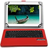 Acer Iconia One 10 B3-A20 10.1-Inch Keyboard - IVSO Removable Bluetooth Keyboard Case for Acer Iconia One 10 B3-A20 10.1-Inch Tablet (Red)