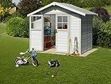 Kunststoff-Gartenhaus Deco H4,9 grau/grün/weiß, 242x202 cm