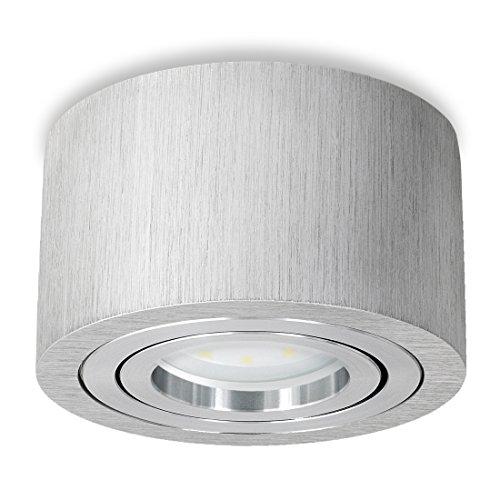 SSC-LUXon LED Aufbaulampe flach dimmbar - mit LED Modul 5W warmweiß 230V - schwenkbarer Deckenstrahler Alu gebürstet Ø90x50 mm Mm-modul