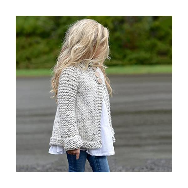 Ropa Niña Otoño e Invierno Chaqueta de Punto Abrigos Cremallera Espesar Peluche Color sólido Suéter Chaqueta Tejido de… 3