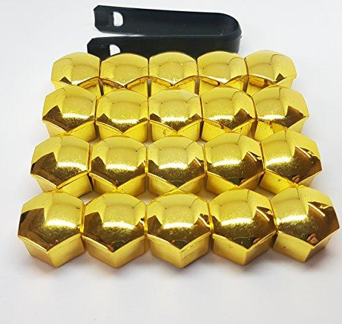 VIKTEX 20 RADSCHRAUBENKAPPEN ABDECKUNGEN RADMUTTERN Set 17MM Farbe: Gold Optik
