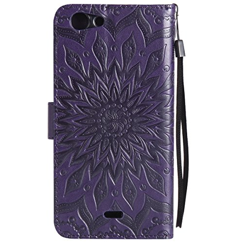 Coque Cuir Etui Pour Wiko Pulp Fab 4G,Wiko Pulp Fab 4G Portable Coque Housse,Ekakashop Jolie Rose D'or Tournesol Painting Bookstyle Rabat Shell Silicone Etui Flip Cover Smart Case Housse de Protection Pourpre