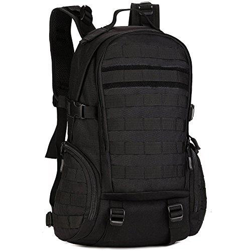 Zaino Unisex 35L Tattico Militare Studente Zaino Outdoor Sport Backpack per Viaggio Escursionismo Campeggio Alpinismo,Nero Nero