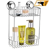 MaxHold No-Drilling/Suction Cup Double Rectangular Basket - Vaccum System - Stainless Steel Never Rust - for Bathroom & Kitchen