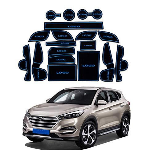Preisvergleich Produktbild YEE PIN Auto Türnut Anti Rutsch Pad Kompatibel mit Hyundai Tucson TL 2016-2019 Autoinnenausstattung Wasserbecher Aufbewahrungsbox Anti-Rutsch-Matte Gummimatte Antirutschmatten