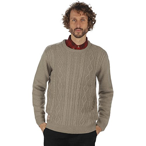 Regatta Mens Koby Acrylic Cable Knit Crew Neck Pull Over Casual Jumper (Cable Knit Crew Pullover)