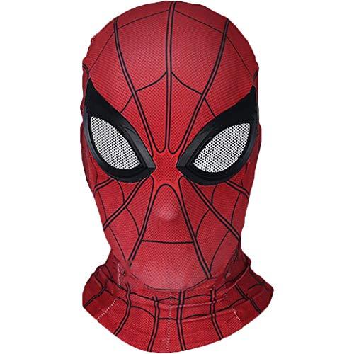 Spider-Man: Far From Home, Marvel Avengers Spiderman Lycra Máscara de cara completa Casco, Cascos, Accesorios para disfraces de cosplay de la película, Funda de Halloween para adultos,Red-OneSize