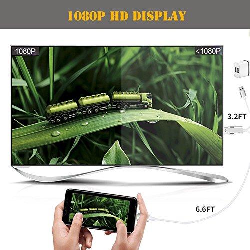 Phone vers HDMI Mirroring Câble,Tiancai Full HD 1080p HDMI Compatible avec Les téléphones X / 8 / 8P / 7 / 7P / 6s / 6P/ Pad, Partage d'écran vers Windows/TV/Moniteurs/Projecteurs etc.