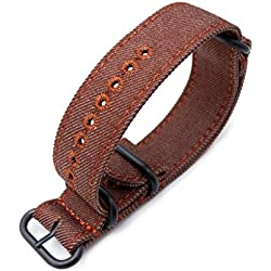 Zulu 22mm Rust Brown Watch Strap, Stitching Brown, MiLTAT Thick X2 Washed Canvas, PVD
