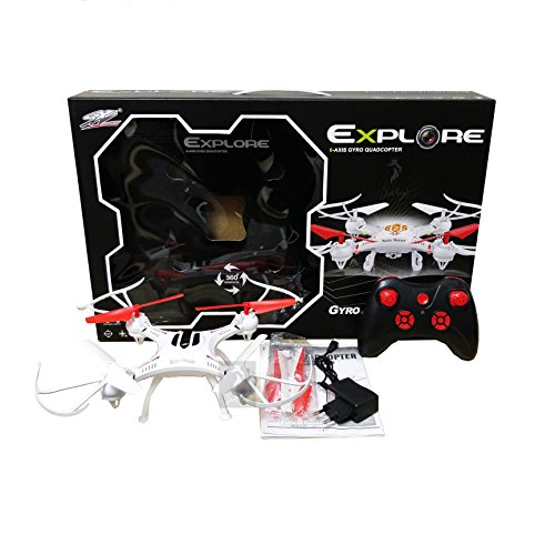 Jack Royal Explore S48 Quadcopter with 2.4GHz System and Headless Mode- No Camera Included (White)