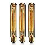 KJLARS 3x Vintage Edison Glühbirne E27 T185 60W Lampe tube Flötenrohr für Nostalgie und Retro Beleuchtung Glühlampe