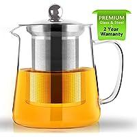 Raypard Tetera, tetera 750ml Tetera de vidrio con infusor, apta para microondas y estufa segura, colador de té para té de hojas sueltas y té floreciente