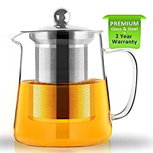 Teiera, teiera in vetro da 700ml Teiera con infusore, microonde e piano cottura sicuro, colino da tè per tè sfuso e tè in fiore