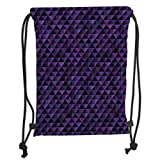 Drawstring Backpacks Bags,Geometric,Twentieth Century Style Expressionist Art Vibrant Colored Squares and Triangles,Purple Black Soft Satin,5 Liter Capacity,Adjustable String Closu