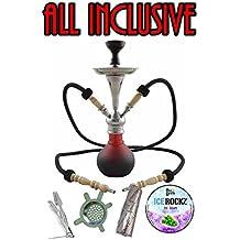 Aladin Origins Shisha Numea, 2-Schlauch-Wasserpfeife im Bundle mit Kohle und Bigg Ice Rockz Grape (Schwarz-Rot)