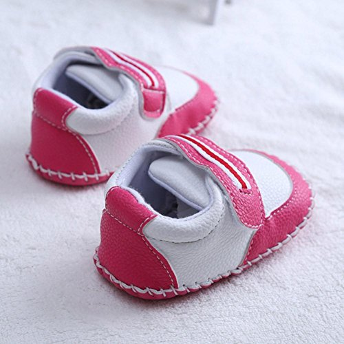 Chaussures de bébé,Fulltime® Bébés Filles Garçons Semelles souples en cuir Bottom Flats Chaussures Pastèque rouge