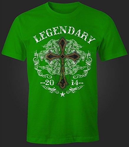 Herren T-Shirt - Kreuz Cross Gothic Legendary - Comfort Fit MoonWorks® Grün