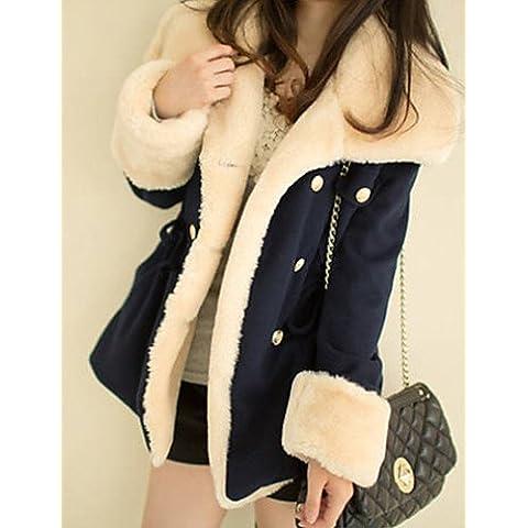 Inverno donna colore solido multi-colore Cappotti e giacche , Sexy / Casual / lavoro su misura manica lunga Collar,L,Cammello