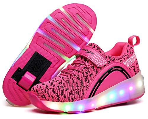 Enfants LED Chaussures à Skates avec Roues LED Clignotante Baskets Mode Coloré Lumineux Patins à roulettes Multisports Outdoor Chaussures de Skateboard pour Garçon Fill