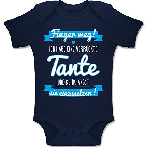 Shirtracer Sprüche Baby - Ich Habe eine Verrückte Tante Blau - 6-12 Monate - Navy Blau - BZ10 - Baby Body Kurzarm Jungen Mädchen