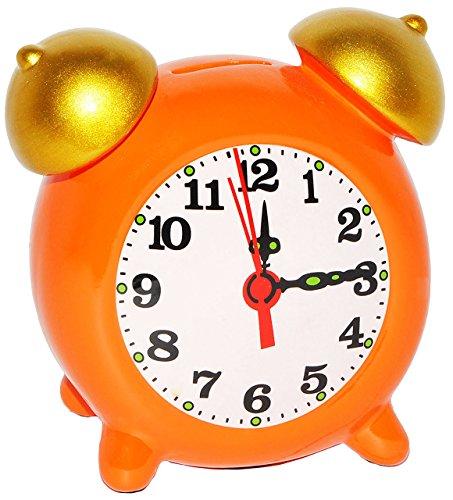 """Produktbild XL Spardose - """" Wecker / Uhr - orange """" - stabile Sparbüchse aus Porzellan / Keramik - Sparschwein - für Kinder & Erwachsene / lustig witzig - Schulanfang - Schulstart - Reisekasse Urlaub Reisen - Geldgeschenk / Urlaubsreise / Urlaubskasse - Zuckertüte - großer Kinderwecker Analog / Uhren - geräuschlos - bunt"""